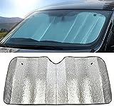 Hosaire Sonnenblende für die PKW-Windschutzscheibe, hervorragender UV-Schutz und bedienungsfreundlicher Sonnenreflektor, silberner Sonnenschutz, 140x 70cm