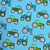 0,5m Jersey Trecker hellblau Traktor 5% Elasthan 95% Baumwolle Meterware 140cm breit