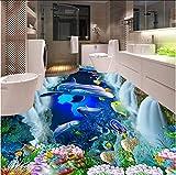 Syssyj Benutzerdefinierte 3D Boden Mural Tapete Wasserfall Unterwasserwelt Dolphin 3D Bad Gehweg Boden Fliesen Aufkleber Decor Pvc Wasserdicht-200X140CM