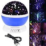 Sternen-Nachtlicht Projektionslampe Beleuchtung Nachtlicht Sternenhimmel Projektor 360 Grad Romantische Nacht Lampe Tischlampe mit USB für Schlafzimmer, Kinder Zimmer, Weihnachten, Hochzeit, Geburtstag, Party (Stern-Mond, Blau)