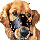 IW.HLMF Museruola di Cane Regolabile Anti-Mordente in Pelle Traspirante Safety Pet Puppy Muzzle Maschera per Centro Commerciale Cani di Taglia Media all'aperto,Black,S