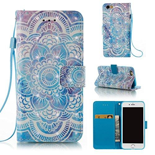 Qiaogle Telefon Case - PU Leder Wallet Schutzhülle Case für Apple iPhone 7 (4.7 Zoll) - YB57 / Golden Blume YB55 / Blau mandala