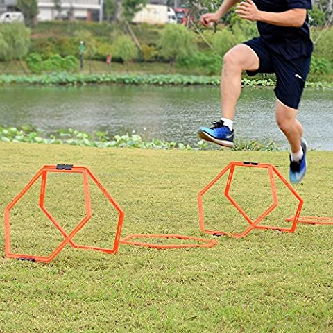 Speed Ladders, Sportneer 6 PCS Hexagonal Speed & Agility Training Rings Tennis Soccer Football Basketball Training Aid, BONUS Carrying Bag