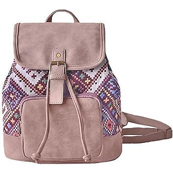 60def37a3ceb Amoyie Sacs à main portés dos femme en cuir et toile, sacs à dos loisir  petite, sac vintage pour voyage travail