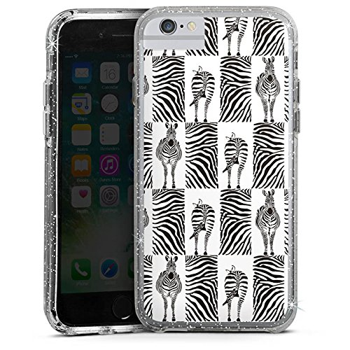 Apple iPhone X Bumper Hülle Bumper Case Glitzer Hülle Zebra Animal Print Pattern Bumper Case Glitzer silber