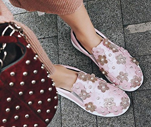 GLTER Femmes Chaussures plateforme Chaussures stéréo Fleurs Chaussures de pain Chaussures épaisses perles Chaussures à sequins Sandales de plein air Pink