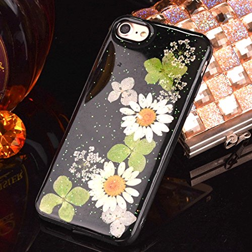Pour iPhone 6 Plus et 6s Plus Epoxy Dripping Pressed Real Dried Flower Housse de protection TPU Soft Case arrière YAN ( SKU : Ip6p2295c ) Ip6p2295d