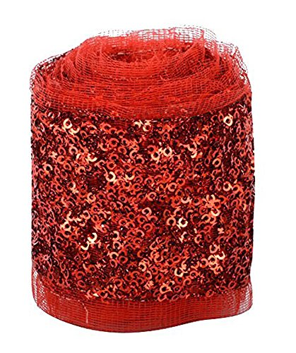 Fashion Sequence Net Laces for Dresses/Sarees/Lehenga/Suits/Caps/Bags/Decorations/Borders/Crafts - Red - Combo Pack of 2 Meters