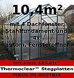 Komplettset: 10,4m² PROFI ALU Gewächshaus Glashaus Treibhaus inkl. Stahlfundament u. 4 Fenster, mit 6mm Hohlkammerstegplatten - (Platten MADE IN AUSTRIA/EU) inkl. 4 autom. Fensteröffner von AS-S
