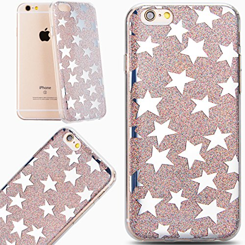 VertTek Custodia per iPhone 6 6S 4.7 Glitter Argento Stelle Morbida Gomma TPU + Rigida Plastica Cover con Funzione di Shock-Absorbion Protettiva Tough Skin Back Cover Moda Coccodrillo Cover Gel Antig Shiny Grigio