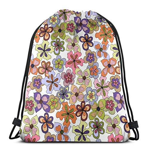 vintage cap Funky Fantasy Flowers - Warm Spring On White (Medium)_6937 3D Print Drawstring Backpack Rucksack Shoulder Bags Gym Bag for Adult 16.9