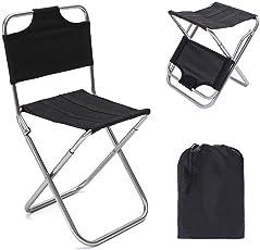 FJROnline Campingstuhl, zusammenklappbar, tragbar, leicht, Aluminium, Mini-Stuhl für Outdoor-Wandern, Reisen, Jagd, Angeln, Grillen, Strand, Picknick