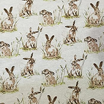 """5 Metres /""""Hares/"""" Natural Linen Look Curtain Upholstery Designer Wildlife Fabric"""