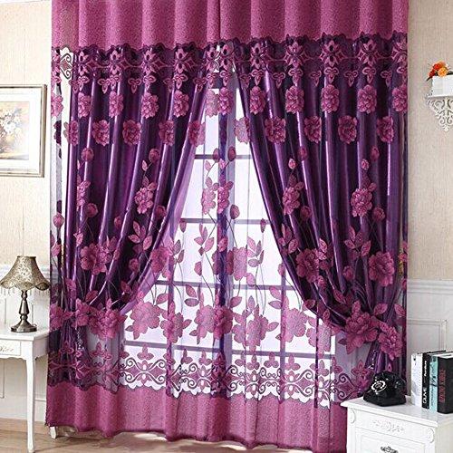 Neue moderne florale schiere Tüll Voile Fenster Vorhang Türverkleidung mit 3 Farben 250 x 100 cm multifunktionale Vorhänge -