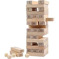 ROUUEN Wooden Building Block Party Game Tumbling Tower Game (Brown) - 51 Pcs