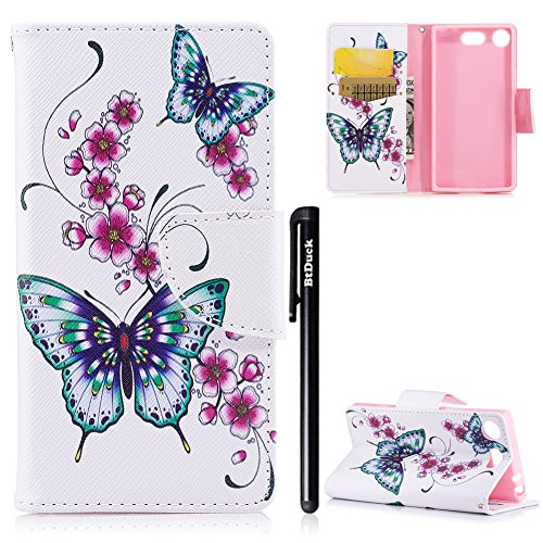 BtDuck Compatible for Schutzhülle Sony Xperia XZ1 Compact Holster Handyhülle PU Leder Tasche Flip Magnet Case Tier Blume Schmetterling Bunt Brieftasche Etui Handy Hülle Blume Schmetterling