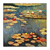 Arte Dal Mondo ME057CAT-02 Lilies Handgefertigte Ölgemälde auf Leinwand mit