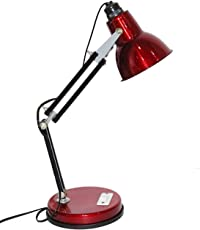 CITRA 3-in-1 Metal Adjustable Goose Neck Architect Desk Table Lamp with LED Bulb (Red, ttbl343)