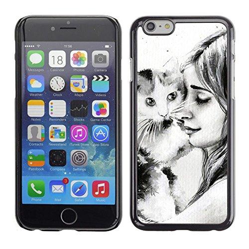GooooStore/Housse Etui Cas Coque - Cat Girl Friendshp Animal Drawing Pencil - Apple Iphone 6 Plus 5.5