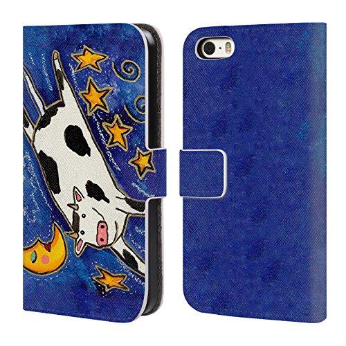 Ufficiale Wyanne La Mucca Sulla Luna Animali 2 Cover a portafoglio in pelle per Apple iPhone 5 / 5s / SE La Mucca Sulla Luna
