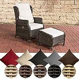 CLP Polyrattan-Sessel BRENO mit Sitzpolster und Fußhocker I Relaxsessel mit Verstellbarer Rückenlehne I In verschiedenen Farben erhältlich Bezugfarbe: Cremeweiß, Rattanfarbe: Grau-meliert