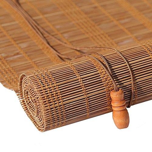 GYH Persianas de Bambu Roller Blind Bamboo Curtain - Natural Nanmu Drawstring Cortina de bambú a Prueba de Polvo y Resistente al Agua Hollow Tea Room Shutter [3 Colores 23 tamaños] (#)