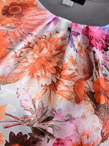 Mocca by J.L. Damen Blusenshirt mit Blütendruck Silber