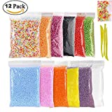 Foam Balls for Slime, 12 Packs of Colorful Styrofoam Foam Balls with 0.09-0.14 Inch, 3 slime tools and 1 Packs of Slices for Arts and DIY Crafts Supplies Slime Foam Balls: -10 pack foam balls, lightweight , smooth, colorful ,enough for making your cr...