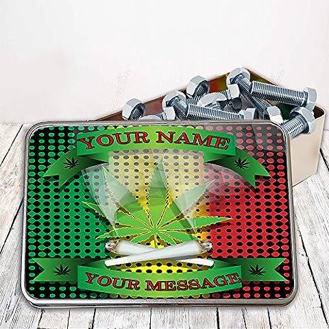 Personalised Burning Reefer Sh039 Storage Tin smoking tobacco box Money Gift