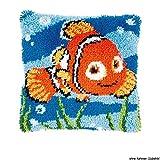 Vervaco PN-0014627 Knüpfkissen Nemo Knüpfpackung zum Selbstknüpfen eines Kissens, Stramin, Weiß, 40 x 0, 30 cm