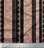 Soimoi Schwarz Samt Stoff Streifen & Semi-Mandala