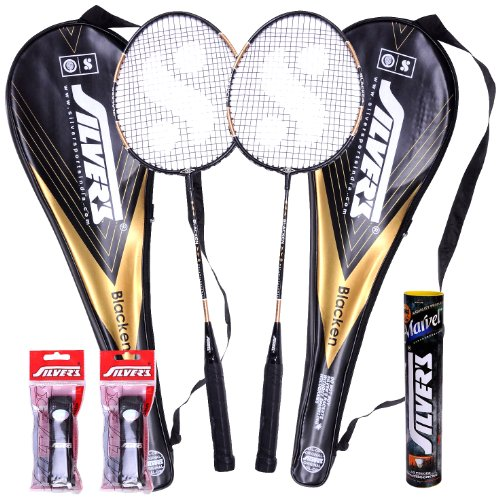Silver's Blacken 2 Racquets, 1 Box S/C Marvel, 2PVC Grip Badminton Racquet (Multicolor)  available at amazon for Rs.1110