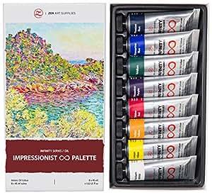 ZenART IMPRESSIONIST Palette, Set di Colori ad Olio Professionali – Colori Gioiello Vivaci della Infinity Series per artisti, atossici, resistenti alla luce, elevata pigmentazione, 8 tubetti da 45 ml