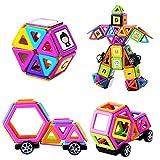 Muitobom magnetisches Bausteine Set mit Buchstaben und Zahlen-Aufklebern, 72Teile für Kinder