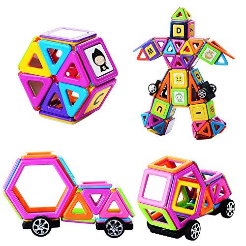 MUITOBOM Bloques de Construcción Magnéticos, 76 Piezas Bloques Magnéticos Juguetes Construcción Juego educativos para niños con Letra y números Pegatinas