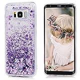 Galaxy S8 Hülle, Irady Samsung S8 hülle Quicksand Glitzer Mode kreatives Design Fließende Flüssigkeit schwimmt Luxus Funkeln Samsung Galaxy S8 Hülle transparent für Mädchen Kinder S8 hülle (Lila)