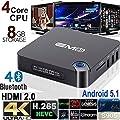 [2016 Streaming Media Players] EM95 64Bit Amlogic S905 Quad Core Kodi 15.2 Full Loaded Android 5.1 TV Box Cortex A53 2.0GHz HDMI 2.0 4K Bluetooth 4.0 WiFi Gigabit Ethernet