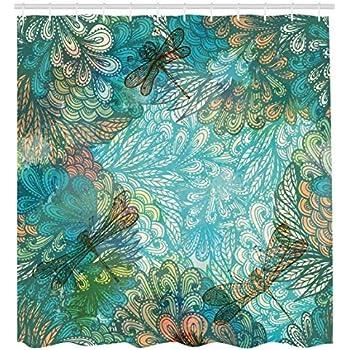 Effekt Sommerblumen im Retrostil Bild 175x200cm Hand Gemälde Duschvorhang