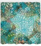 Abakuhaus Duschvorhang,3 Libellen Welche über Einen Abstrakten Natur Muster Fliegen Blau Mehrfarbiger Digital Druck, Wasser und Blickdicht aus Stoff mit 12 Ringen Schimmel Resistent, 175 X 200 cm
