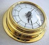 maritime-deco Kleine, leichte 80g Uhr in Bullaugenform aus Messing- Durchmesser 10 cm