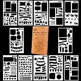 Hilai - Lot de 12 pochoirs à dessin en plastique (10x 18cm) pour journal, carnet, agenda, scrapbooking, etc.
