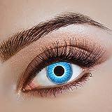 Couleur des lentilles de contact Blue Fire de aricona – années couvrant la lentille à terme pour les yeux sombres et claires- sans correction- les lentilles colorées pour le carnaval- des soirées à thème et des costumes d'Halloween