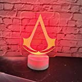 Luce Notturna 3D Gioco Assassins Creed Logo Lampada 3D Lampada Da Notte Regalo Per Cameretta Decorazioni Per Bambini Che…