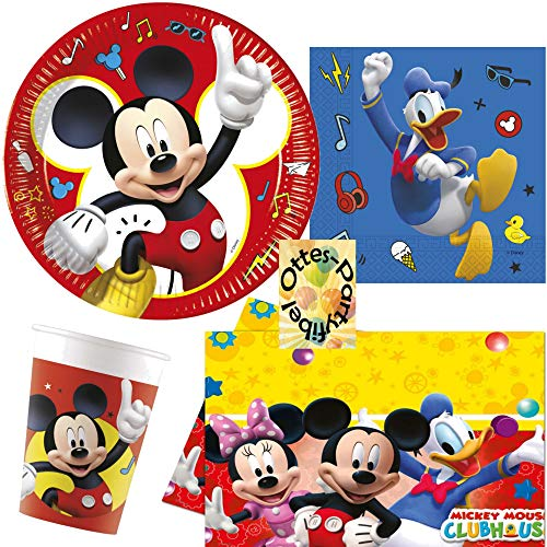 HHO Micky-Maus-Party-Set Mickey-Mouse-Party-Set Pals at Play 37tlg. für 8 Gäste Papp-Becher Teller Servietten Tischdecke (Mouse Mickey Birthday-zubehör)