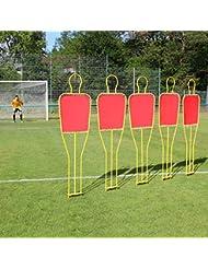 5 x Freistoßdummies im Set, 180 cm hoch, gelb/rot, für Fußballtraining