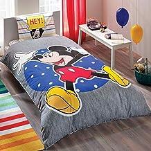Producto original con licencia oficial Mickey Mouse Mause divertido juego de funda de edredón, 100% algodón, tamaño individual, 3piezas