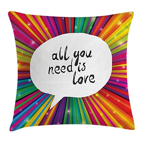 Decor Pillow case Vintage All You Need is Love Valentines Inspirational Speech Bubble Hippie Poster Throw Pillow Covers 20x20 Inches ()