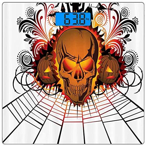 dy Weight Scale Halloween Ultra Slim Gehärtetes Glas Personenwaage Genaue Gewichtsmessungen, Angry Skull Face auf Lagerfeuer Geister anderer Welt Konzept Fledermäuse Spider Web Des ()