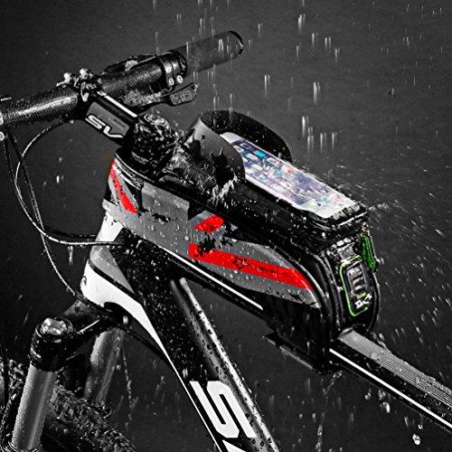 RockBros Fahrrad Rahmentaschen Wasserfeste Taschen Für Bild Schirm 5.8''/6.0'' Grün