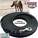 Longe Longierleine für Pferde 16mm aus Beta BioThane®, Pferdelonge für Reitsport, 8 Meter lang in Schwarz